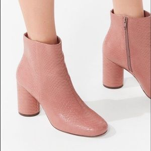 Pink snake skin booties from UO!